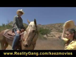 Missy Stone - Lost Horny Young brunette slut fucks cowboy's big dick to orgasm